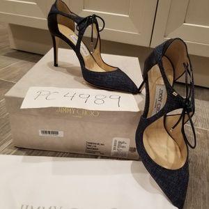 6606e4b95457 Jimmy Choo Shoes - NWT Jimmy Choo VANESSA 85 navy tweed heels 36.5